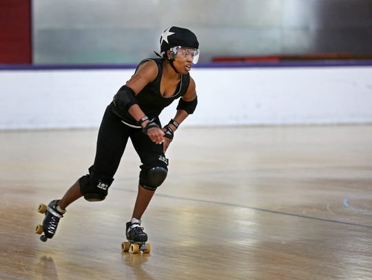 Tru D. Vicious jams during a recent Cincinnati Rollergirls