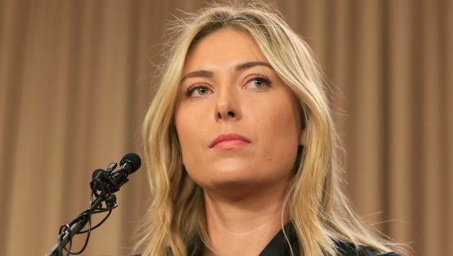 Tennis star Maria Sharapova speaks during a news conference in Los Angeles on Monday. Sharapova says she has failed a drug test at the Australian Open.