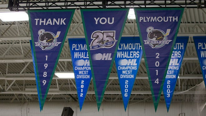 This banner perfectly sums up the vibe inside Compuware Arena Saturday night. It was the final game in Plymouth Whalers' franchise history. The Whalers will become the Flint Firebirds next season.