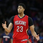 Feb 21, 2016; Auburn Hills, MI, USA; New Orleans Pelicans forward Anthony Davis (23) celebrates after making a three point shot during the fourth quarter of the game against the Detroit Pistons at The Palace of Auburn Hills. The Pelicans defeated the Pistons 111-106.