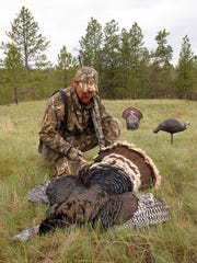 A successful hunter tags his turkey with a hen and