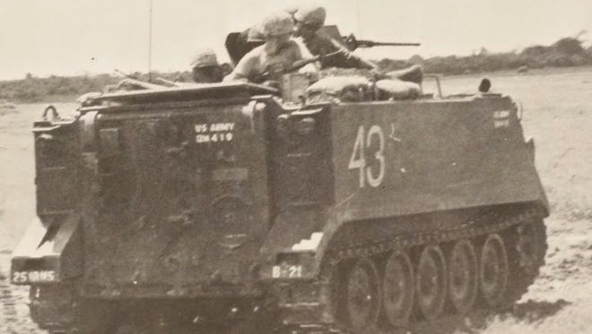 The APC that Wilburnand his mortar crew rode in while serving in Vietnam.