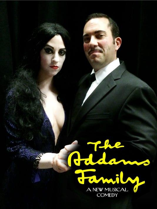 Susie Goebeler as Morticia Addams and Carlo Stebbings as Gomez Addams.