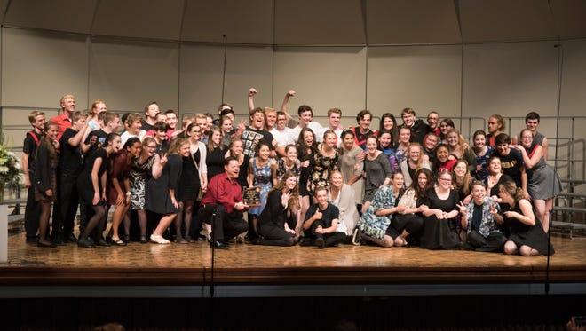 The Central High School Choir celebrates winning third in state at the OSAA 5A State Choir Championships at George Fox University on Friday May 6, 2016.