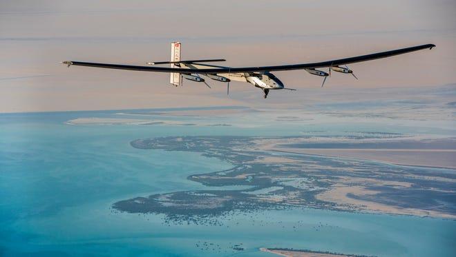The Solar Impulse 2 on a test flight over Abu Dhabi in March.