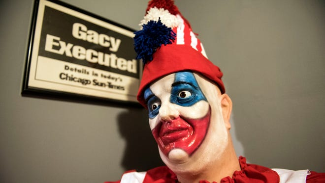 A replica of John Wayne Gacy, dressed as Pogo the Clown, sits in the crime room at the Gettysburg Dime Museum. The museum will open for its second season on April 1. The museum is bringing in more creepy and cool oddities this year.