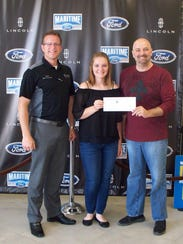 Megan Thelen (center) of Reedsville FFA was awarded