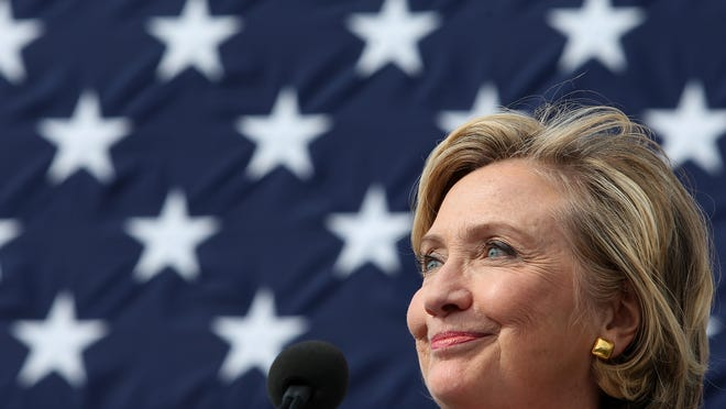 Sen. Hillary Clinton looks out into the crowd during her speech during the annual Harkin Steak Fry in September 2014. She announced Sunday that she is running for president.