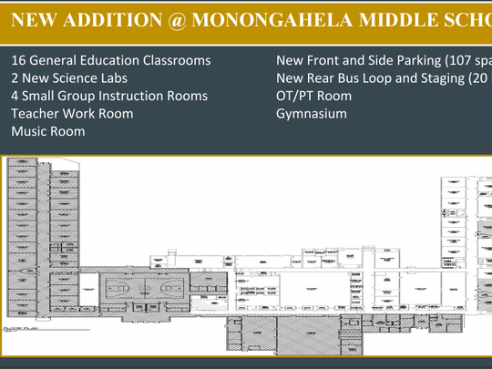 Proposed additions to Monongahela Middle School. Voters will decide on Sept. 27, 2016.