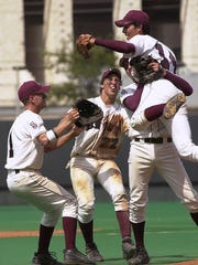 Sinton celebrates after the last out in the top of the 7th inning to win the 3A State Championship Thursday in Austin.