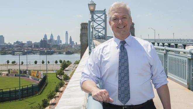 Jon Hanson, CEO of the Delaware River Port Authority, on the walkway of the Ben Franklin Bridge.