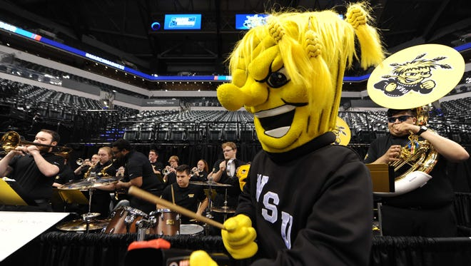 The Wichita State Shockers mascot performs during practice the day before the first round of the 2017 NCAA Tournament at Bankers Life Fieldhouse on March 16.