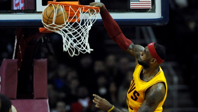 LeBron James was two assists shy of a triple-double in Cleveland's rout.