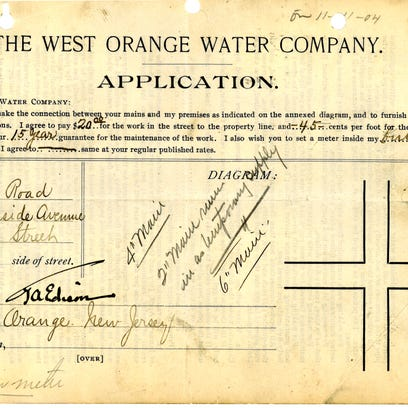 Thomas Edison's application for water in 1904. Today