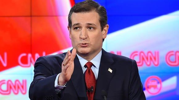 Texas Sen. Ted Cruz gestures during a break in the fifth GOP debate.