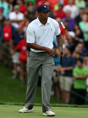 Tiger Woods shown during the 2013 Presidents Cup. Woods had a great season winning tournaments but didn't get a major win.