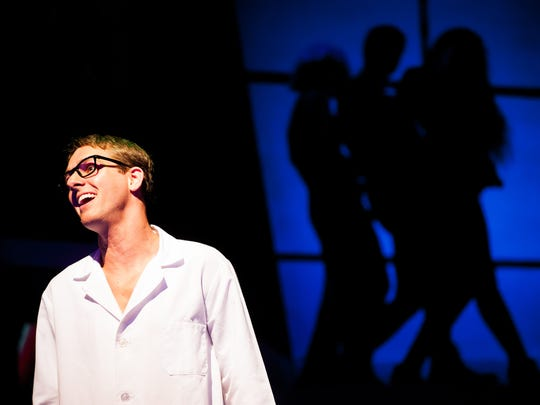 "Jesse Hughes, who plays Brad, acts out a scene during a dress rehearsal for ""The Rocky Horror Show"" at Sugden Community Theatre in Naples, Fla., on Thursday, Oct. 6, 2016."
