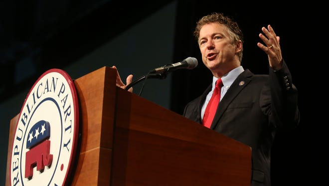 Rand Paul speaks at the 2014 Iowa Republican Convention at Hy-Vee Hall in Des Moines, Iowa, on Saturday, June 15, 2014.