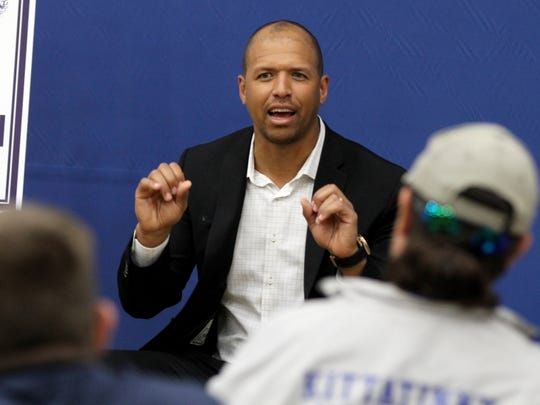Former Dallas Cowboys star Miles Austin hosts a Q&A with high school athletic coaches attending his workshop at his alma mater Monmouth University Thursday, May 31, 2018.
