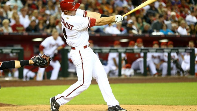 Arizona Diamondbacks first baseman Paul Goldschmidt hits against the San Francisco Giants during opening day baseball game at Chase Field.