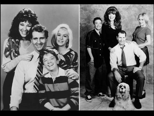 Cast members in the 1987 file photo at left, are, from left: Katey Sagal, Ed O'Neill, David Faustino, Christina Applegate. In the 1997 photo, from left, are: David Faustino, Katey Sagal, Ed O'Neill, and Christina Applegate and Lucky, foreground.