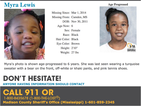 Myra Lewis' missing poster