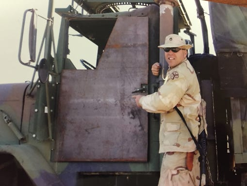 Sgt. 1st Class Joseph Ros, shown here while deployed