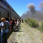 Footage of the smoldering Amtrak train cars
