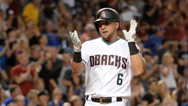 Aug 11, 2017: Arizona Diamondbacks outfielder David Peralta (6) celebrates after hitting a two run home run in the fifth inning of the game against the Chicago Cubs at Chase Field.