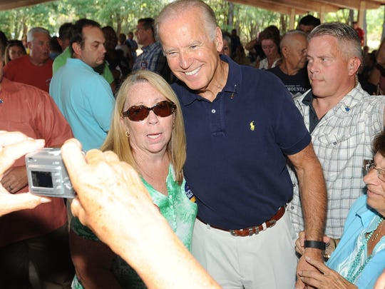 "Vice President Joe Biden is shown at The Sussex County Democratic Party's annual Jamboree at Cape Henlopen State Park on Aug. 29. Biden says he regrets ""every day"" that he didn't enter the 2016 presidential race."