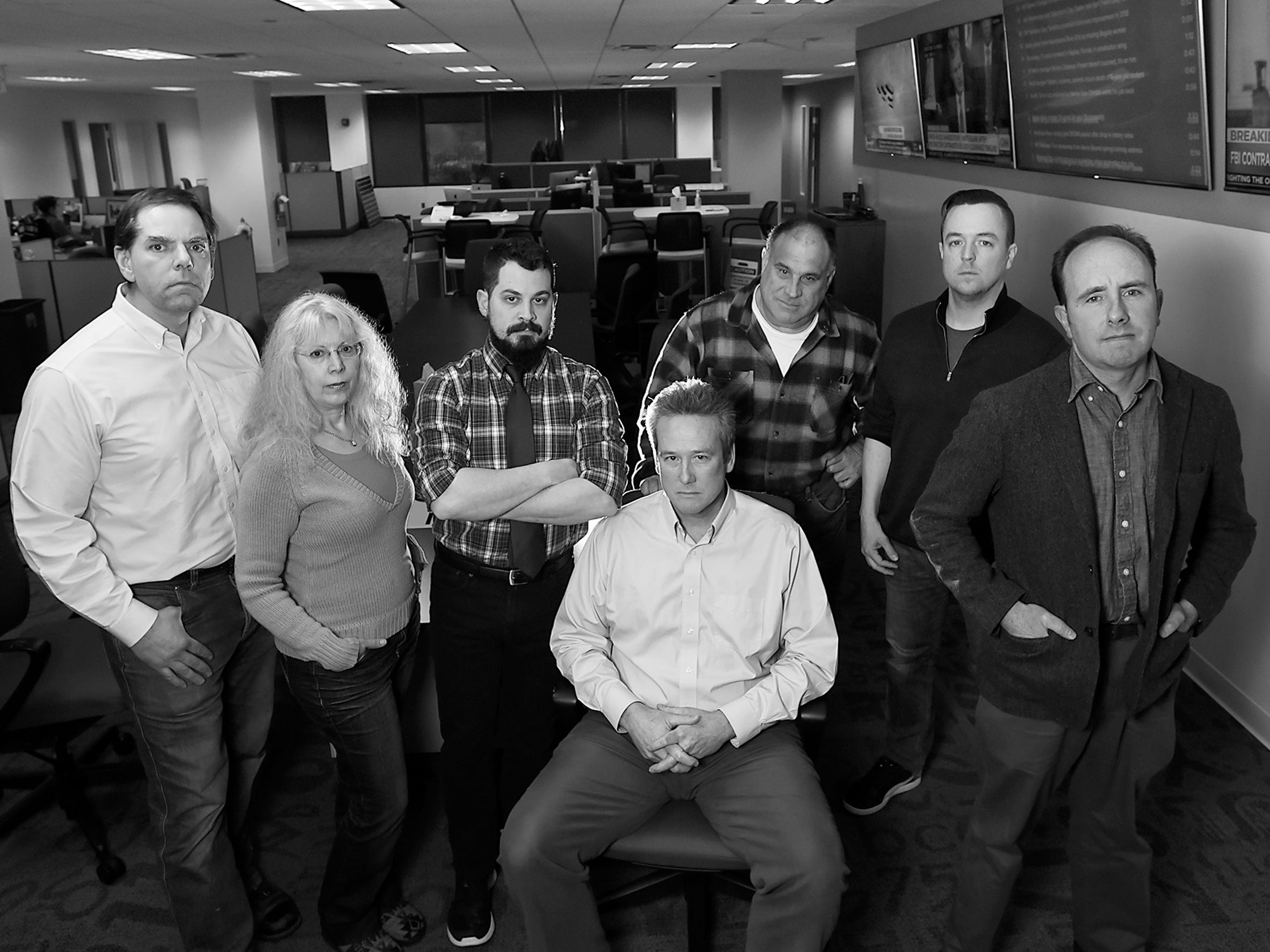 DuPont Team at The Record and NorthJersey.com at the Woodland Park office on Tuesday February 13, 2018. (From left) Daniel Sforza, Susan Lupow, Michael V. Pettigano, James M. O'Neill, Chris Pedota, Sean Oates and Scott Fallon.