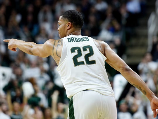Michigan State's Miles Bridges celebrates after a 3-pointer