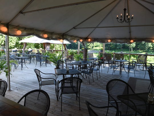 A view of the outdoor patio area at the 1850 House Inn & Tavern in Rosendale.