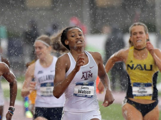 Jun 9, 2018; Eugene, OR, USA; Sammy Watson aka Samantha Watson of Texas A&M defeats Abike Egbenyi of Middle Tennessee to win the women's 800, 2:04.21 to 2:04.33, during the NCAA Track and Field championships at Hayward Field. Mandatory Credit: Kirby Lee-USA TODAY Sports