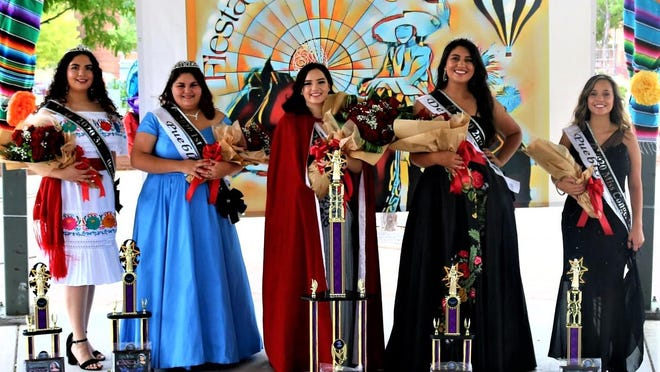 2020 Colorado State Fair Fiesta Queen Martha Esparza, center, stands with her court: left to right, attendants Marlene Garcia Araiza, Tressa Torres and Sofia Romero Campbell, and Miss Congeniality Shaynee Cruz.
