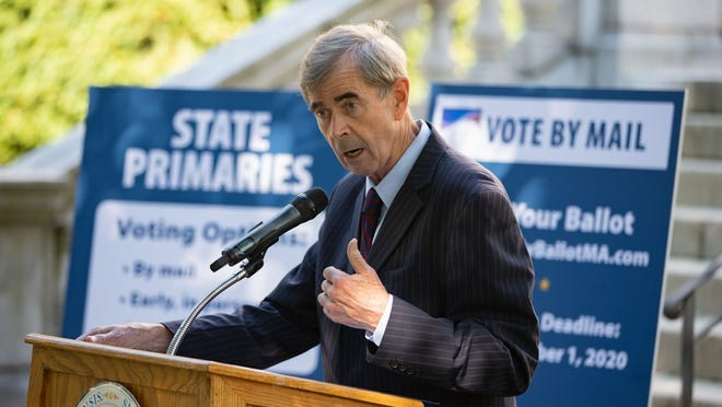 Secretary William Galvin, the state's top elections official, held his pre-primary news conference Tuesday in front of the State House.