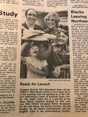 TODAY newspaper launch engineer Dick Baumbach, his launch director wife Diane, and their two kids, who served as commentator and weather director.