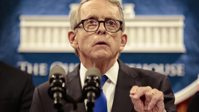 Ohio Gov. Mike DeWine speaks about the Dayton Mass Shooting on Tuesday, August 6, 2019 at the Ohio Statehouse in Columbus, Ohio. On Thursday, DeWine once again addressed gun violence in Ohio, this time noting the shooting death of Akron 8-year-old MiKayla Pickett and 16 others across the state in the last week.