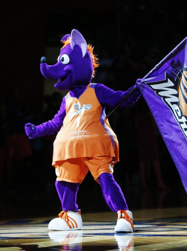 Phoenix Mercury mascot Scorch fires up the crowd before