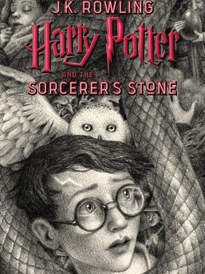 "Brian Selznick's new jacket for ""Harry Potter and the Sorcerer's Stone,"" first published in America in September 1998."