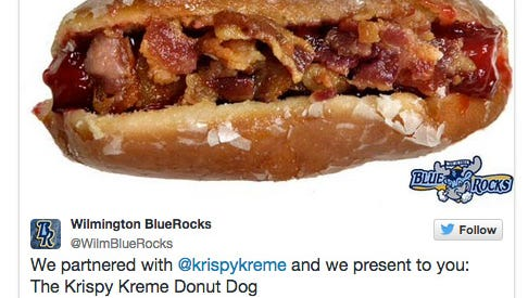 The Blue Rocks tweeted a picture of the KrispyDog(?).