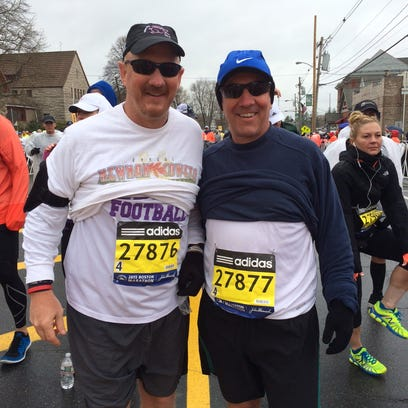 Western Carolina football coach Mark Speir (left) and his brother Ken Speir completed the Boston Marathon last week.