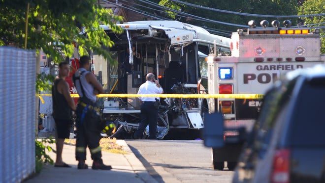 Nj Transit Train Hits Bus In Garfield Nj One Injured