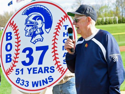 Bob Thomas, who coached Chambersburg High School baseball