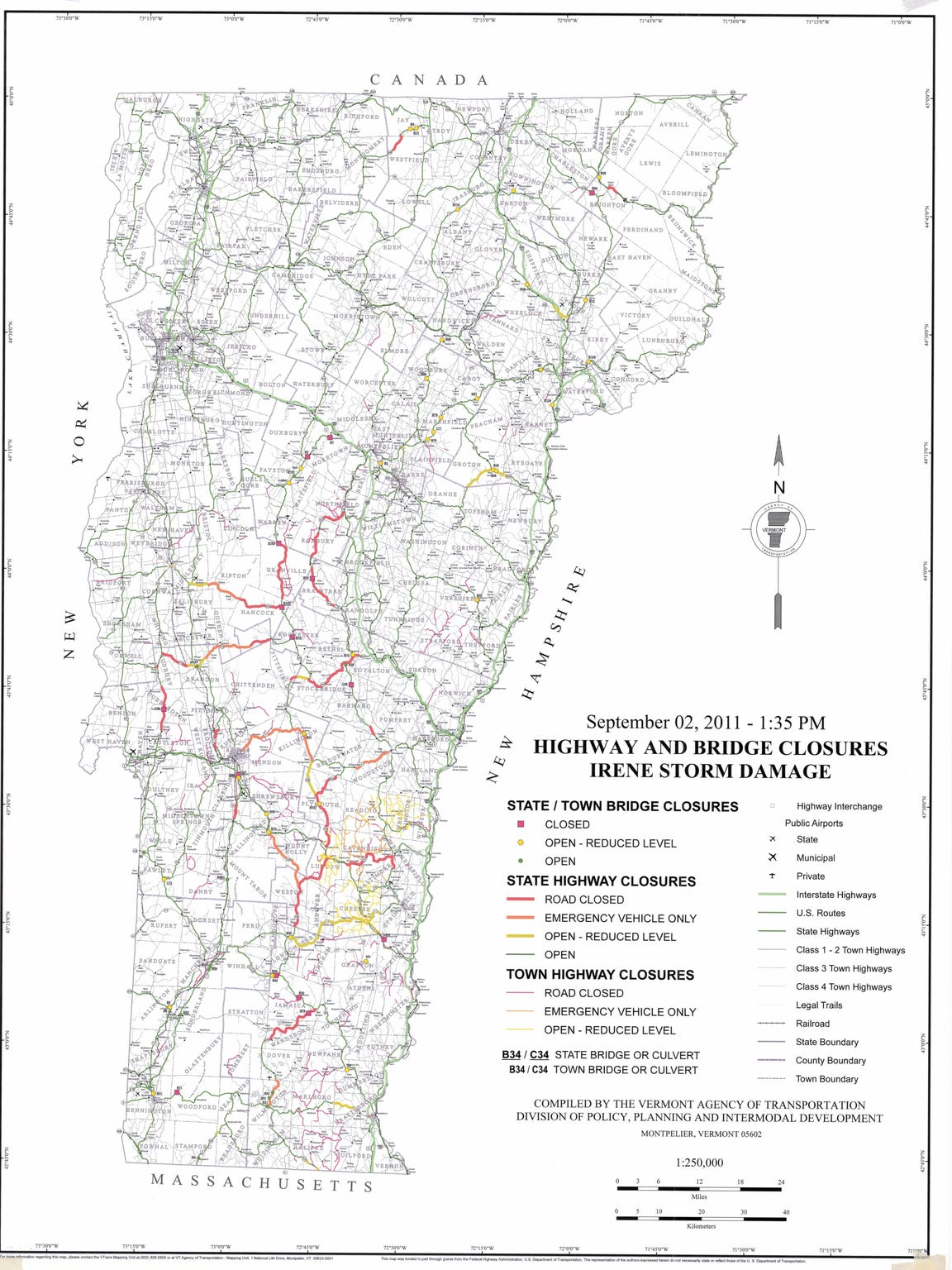 Map of road damage following Tropical Storm Irene in