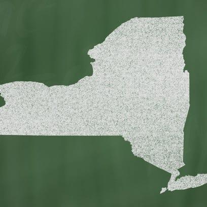 outline map of new york on blackboard