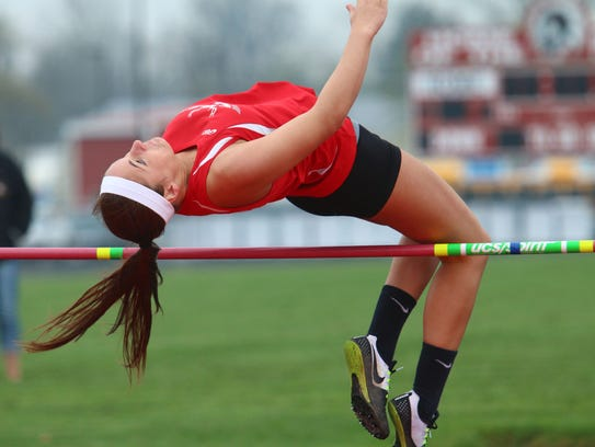 Buckeye Central's Aubrey Wright competes in the high