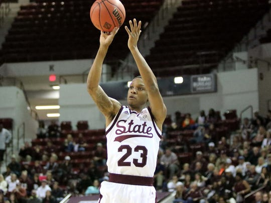 Mississippi State sophomore guard Tyson Carter had his shot working in Mississippi State's home win over Missouri on Tuesday, Feb. 26.