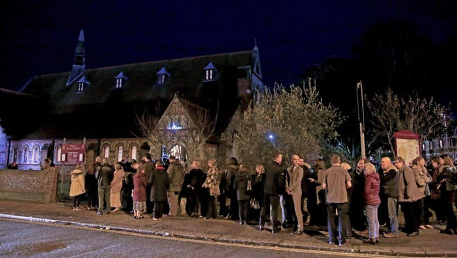 The memorial service for victims of the Grand Canyon helicopter crash, held at St. Matthews Church in Worthing, England, on Feb. 15, 2018.