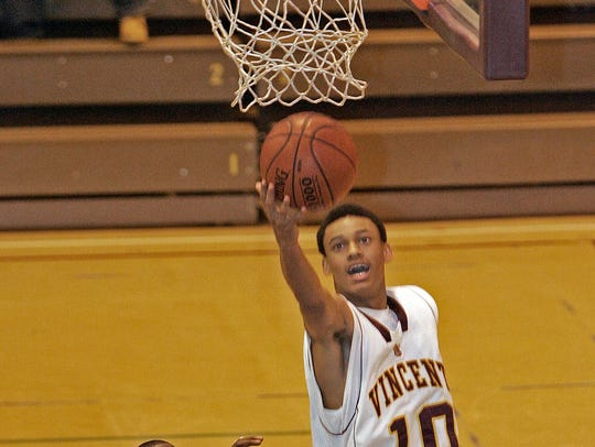 Vincent High School's Diante Garrett scores  against